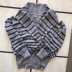 Striped Wrap-front Sweater